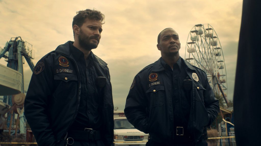 L-r: Jamie Dornan and Anthony Mackie star in 'Synchronic.' Courtesy TIFF