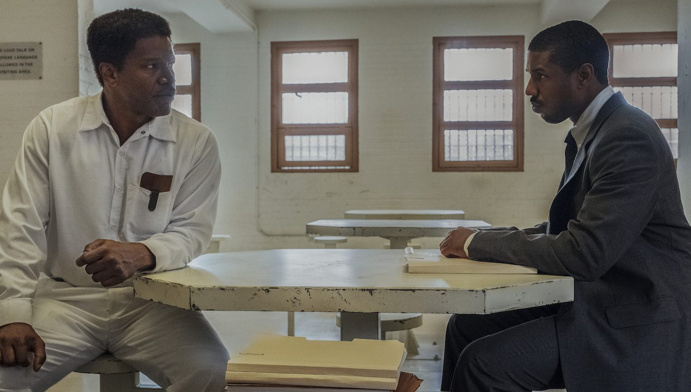 Caption: (L-r) JAMIE FOXX as Walter McMillian and MICHAEL B. JORDAN as Bryan Stevenson in Warner Bros. Pictures' drama JUST MERCY, a Warner Bros. Pictures release.