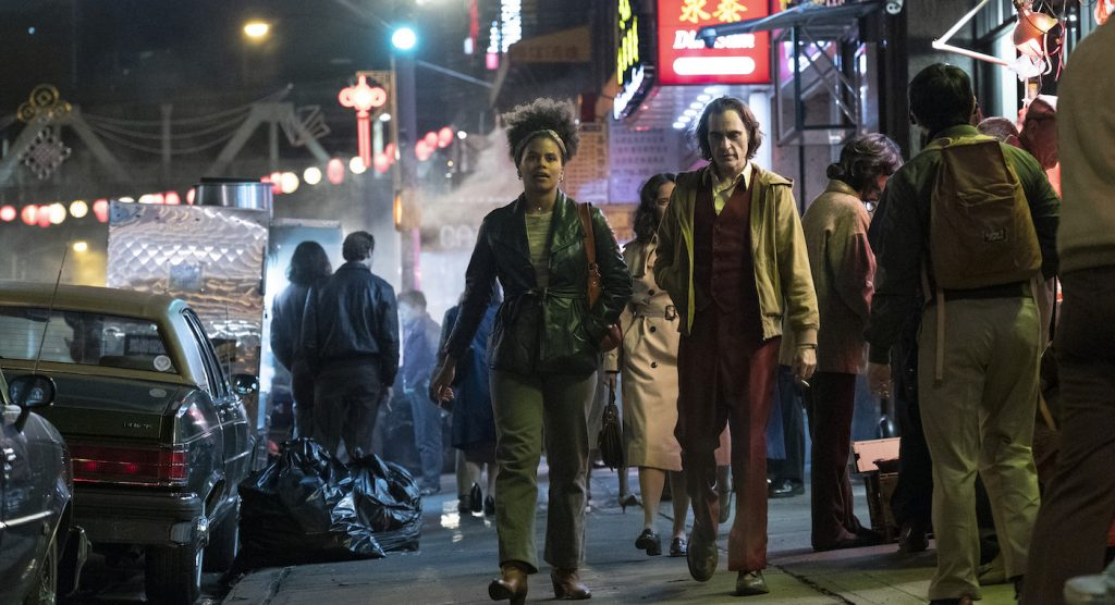 "Caption: (L-r) ZAZIE BEETZ as Sophie Dumond and JOAQUIN PHOENIX as Arthur Fleck in Warner Bros. Pictures, Village Roadshow Pictures and BRON Creative's ""JOKER,"" a Warner Bros. Pictures release."