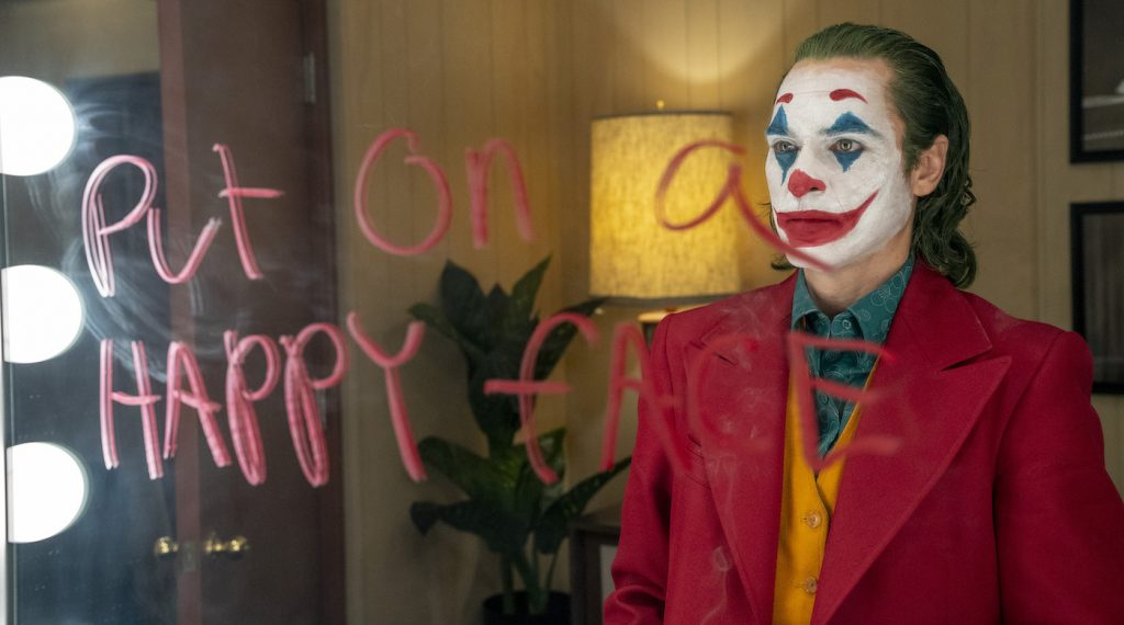 "Caption: JOAQUIN PHOENIX as Arthur Fleck in Warner Bros. Pictures, Village Roadshow Pictures and BRON Creative's ""JOKER,"" a Warner Bros. Pictures release. Photo Credit: Niko Tavernise"