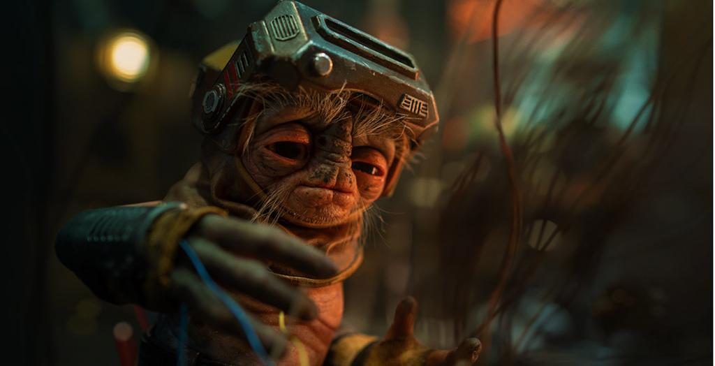 Babu Frik, a tiny Anzellan droidsmith. Courtesy Lucasfilm/Walt Disney Studios.