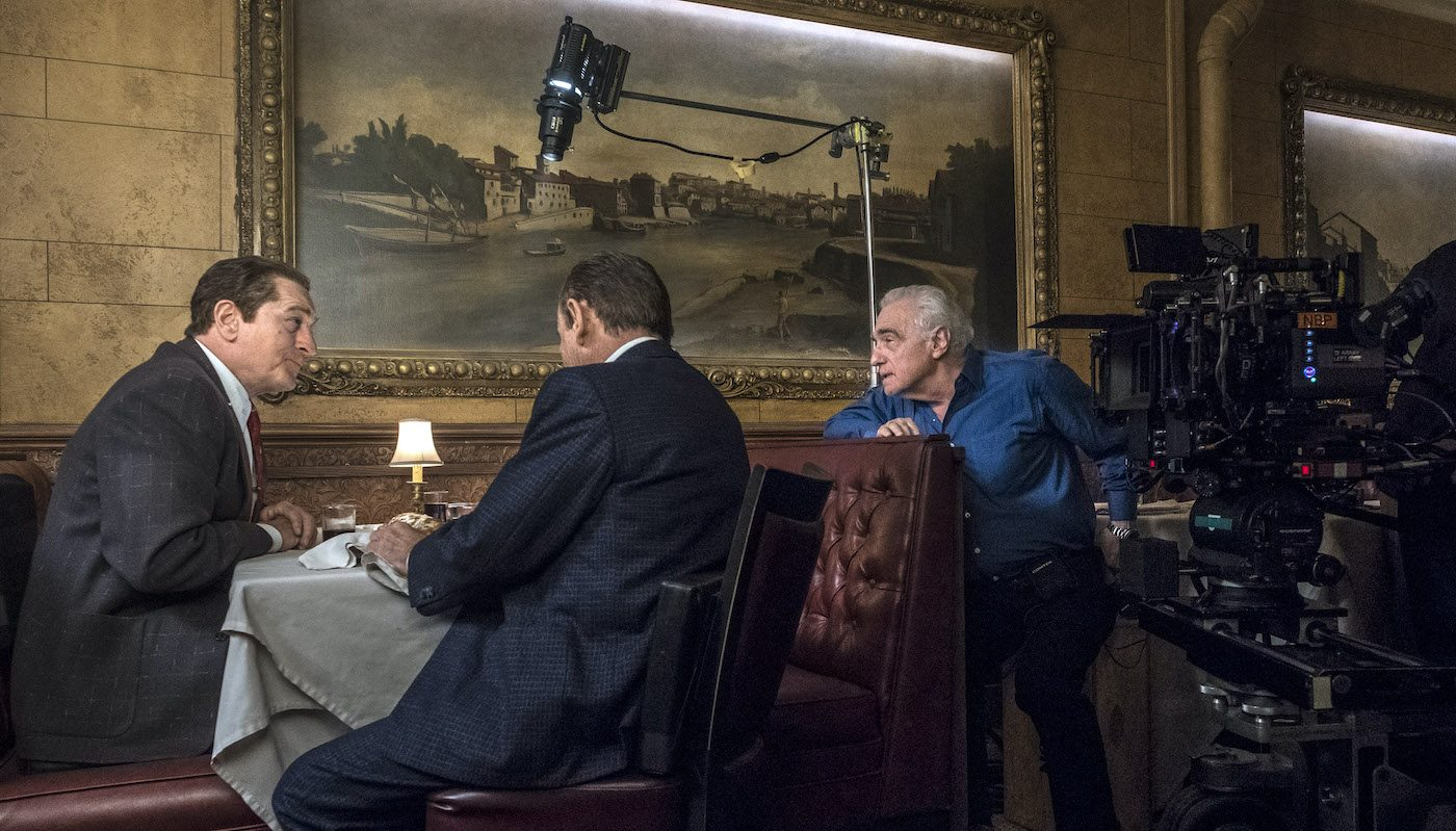 Martin Scorsese directs Robert De Niro and Joe Pesci in a scene from The Irishman. Photo Credit: Niko Tavernise.© 2019 Netlfix US, LLC. All rights reserved.