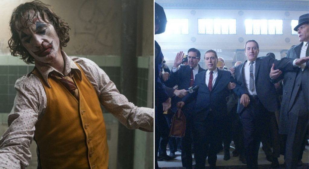 Featured image: L-r: Joaquin Phoenix is Arthur Fleck in Joker. Courtesy Warner Bros. Ray Romano (Bill Bufalino) and Robert De Niro (Frank Sheeran) in 'The Irishman.' Courtesy Netflix.