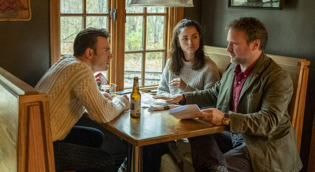 Chris Evans (left), Ana de Armas (center) and director Rian Johnson on the set of Knives Out. Photo credits: Claire Folger. Courtesy Lionsgate