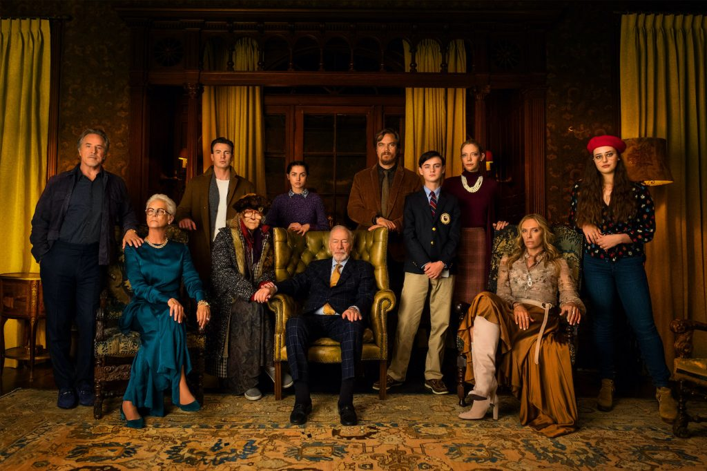 L-r: Richard (Don Johnson), Linda (Jamie Lee Curtis), Ransom (Chris Evans), Great Nana (K Callan), Marta (Ana De Armas), Harlan Thrombey (Christopher Plummer), Walt (Michael Shannon), Jacob (Jaeden Martell), Donna (Riki Lindholm), Joni (Toni Collette), and Met (Katherine Langford). Photo Credit: Claire Folger.