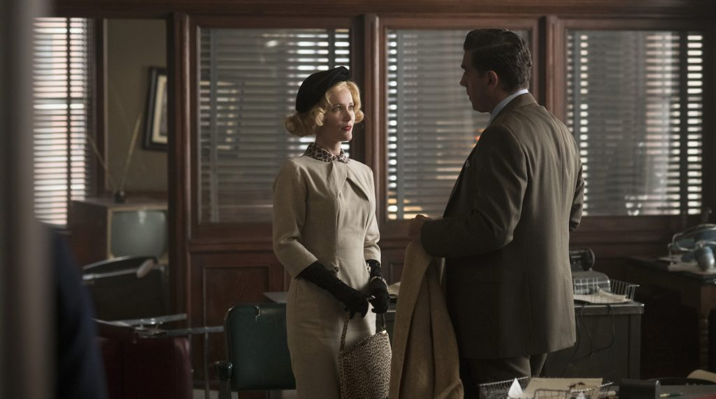 "Caption: (L-r) LESLIE MANN as Julia Minna and BOBBY CANNAVALE as Tony Vermonte in Warner Bros. Pictures' drama ""MOTHERLESS BROOKLYN,"" a Warner Bros. Pictures release. Photo Credit: Glen Wilson"