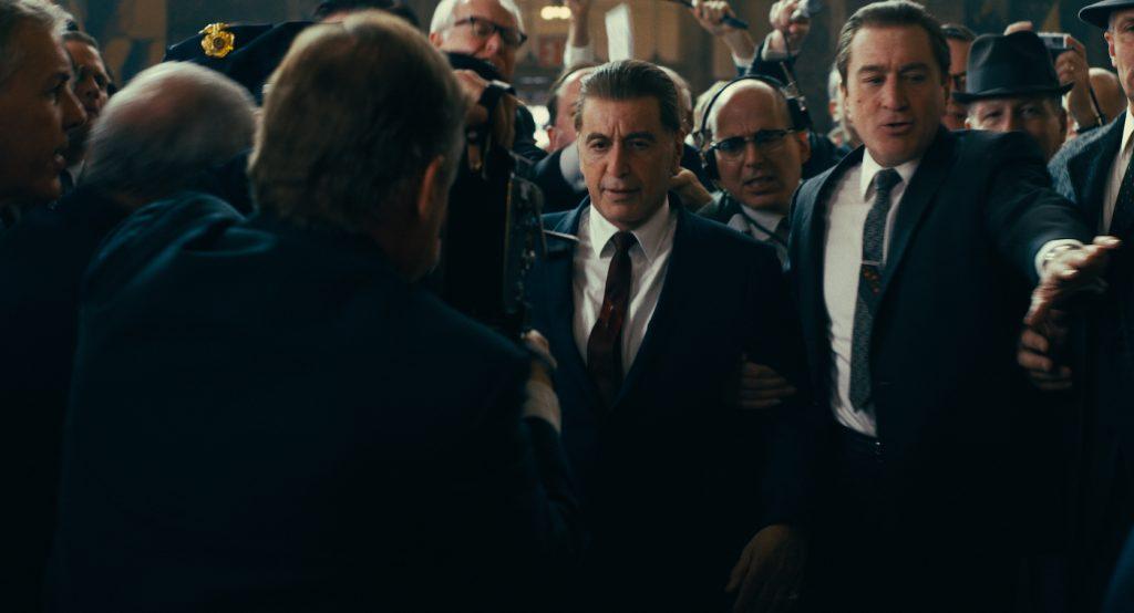 Al Pacino as Jimmy Hoffa and Robert De Niro as Frank Sheeran, de-aged. Courtesy Netflix.