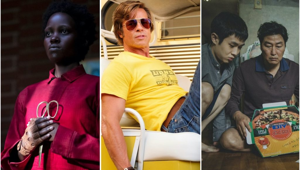 Featured image: L-r: Lupita Nyong'o in Us (Courtesy Universal Pictures), Brad Pitt in Once Upon a Time in...Hollywood (Courtesy Sony Pictures), Woo-sik Choi and Kang-ho Song in Parasite (Courtesy Neon).