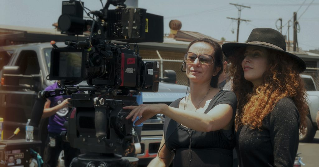 Cinematographer Natasha Braier with Director Alma Har'el on the set of HONEY BOY Courtesy of Amazon Studios