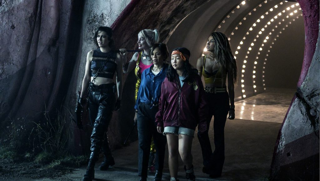 """Caption: (L-r) MARY ELIZABETH WINSTEAD as Huntress, MARGOT ROBBIE as Harley Quinn, ROSIE PEREZ as Renee Montoya, ELLA JAY BASCO as Cassandra Cain and JURNEE SMOLLETT-BELL as Black Canary in Warner Bros. Pictures' """"BIRDS OF PREY (AND THE FANTABULOUS EMANCIPATION OF ONE HARLEY QUINN),"""" a Warner Bros. Pictures release. Photo Credit: Claudette Barius/ & © DC Comics"""