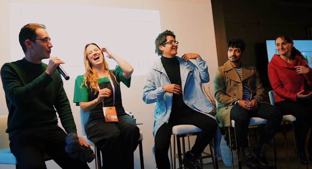 Co-writer Alan Page Arriaga, co-writer and director Heidi Ewing, lead actors Armando Espitia, Christian Vázquez, and Gabriela Maire talk about filming in Mexico on the I Carry You With Me panel at The Latinx House. Photo credit: Revolve Impact / Aly Honore & Claudia Torres.
