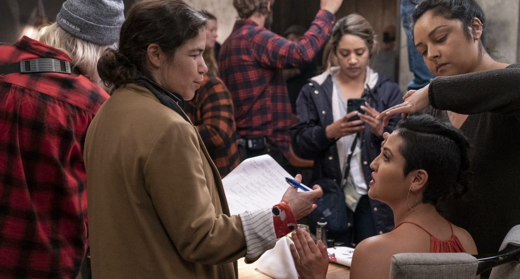 L-r: America Ferrera and Annie Gonzalez on the set of GENTEFIED. Photo by Kevin Estrada/Netflix.