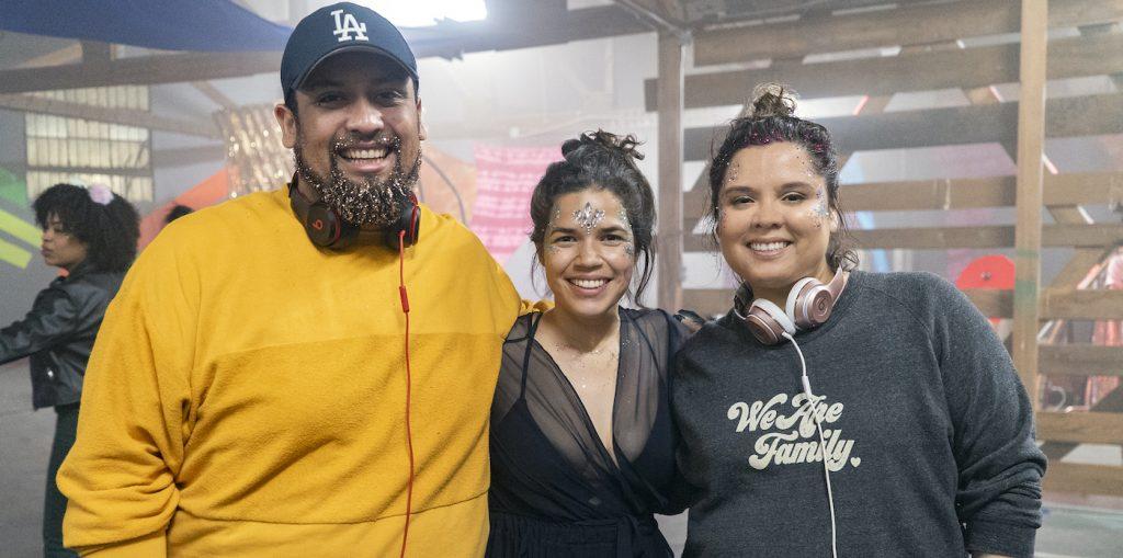 L-r: Marvin Lemus, America Ferrera, and Linda Yvette Chávez on the set of GENTEFIED. Courtesy Netflix.