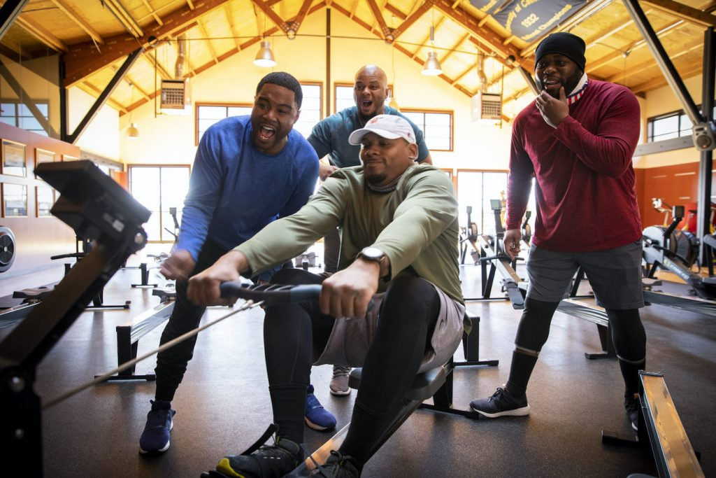 Malcolm Hawkins and the team working out. ©2019 Richard Schultz. Courtesy 50 Eggs Films