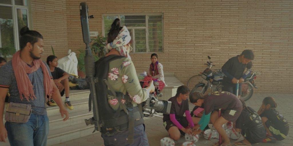 Cinematographer Prinyanka Singh and the crew in rural India, on the set of 'Kicking Balls.' Courtesy Priyanka Singh.