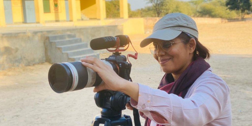 Cinematographer Prinyanka Singh on the set of 'Kicking Balls.' Courtesy Priyanka Singh.
