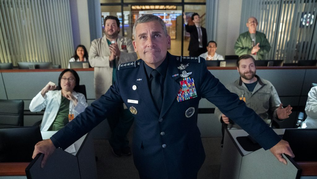 Steve Carell in 'SPACE FORCE.' Photo by Aaron Epstein/Netflix