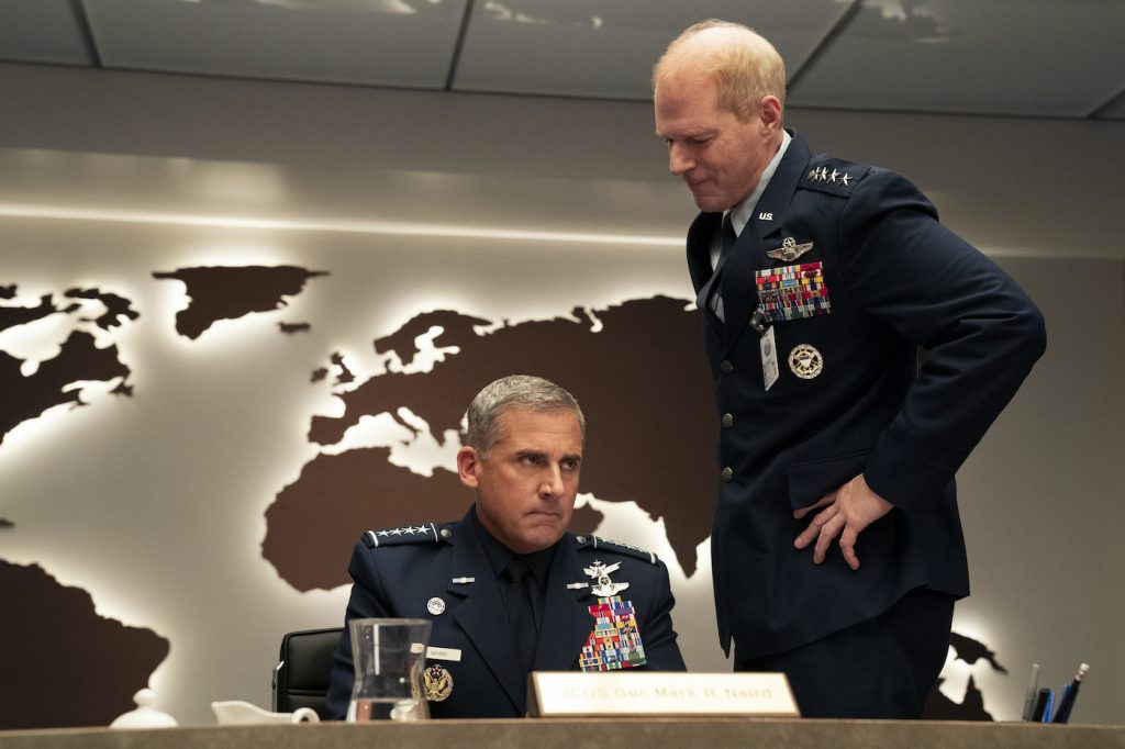 L-r: Steve Carell and Noah Emmerich in SPACE FORCE. Photo by Aaron Epstein/Netflix