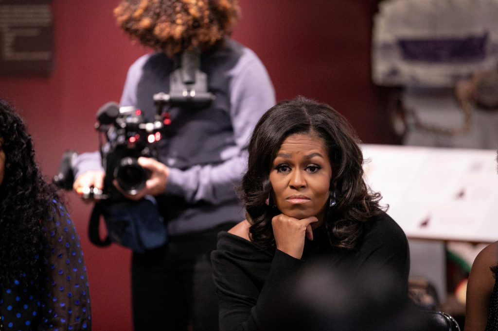 BECOMING (L to R) Director Nadia Hallgren and Michelle Obama in BECOMING. Cr. NETFLIX © 2020. Photo by Isaac Palmisano