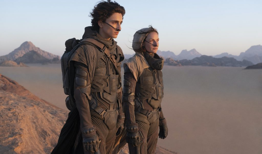 "Caption: (L-r) TIMOTHÉE CHALAMET as Paul Atreides and REBECCA FERGUSON as Lady Jessica Atreides in Warner Bros. Pictures and Legendary Pictures' action adventure ""DUNE,"" a Warner Bros. Pictures release. Photo Credit: Chiabella James"
