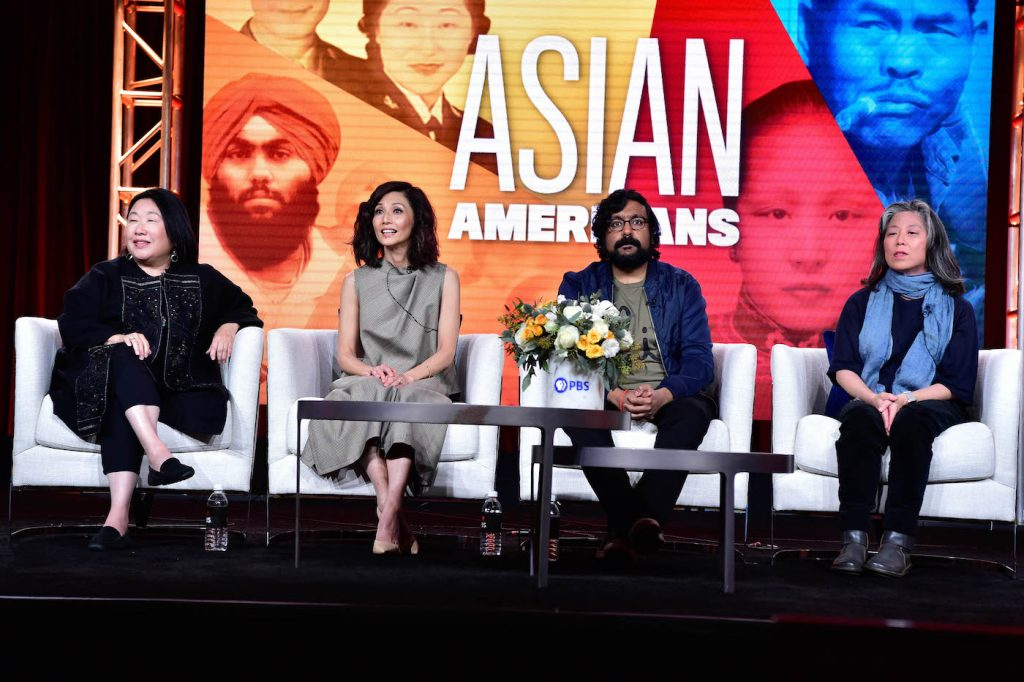 "During PBS's ASIAN AMERICANS session at the Television Critics Association Winter Press Tour in Pasadena, CA on Friday, January 10, 2020, narrator Tamlyn Tomita (""The Good Doctor""); comedian and featured participant Hari Kondabolu; producer Renee Tajima- Peña; and producer/director Grace Lee discussed a new five-part series that examines what the 2010 U.S. Census identifies as the fastest growing racial/ethnic group in the United States. Told through individual lives and personal histories, ASIAN AMERICANS explores the impact of this group on the country's past, present and future. (Premieres May 2020) All photos in this set should be credited to Rahoul Ghose/PBS"