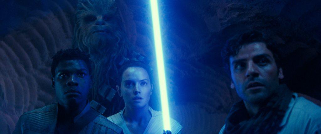 John Boyega is Finn, Joonas Suotamo is Chewbacca, Daisy Ridley is Rey and Oscar Isaac is Poe Dameron in STAR WARS:  THE RISE OF SKYWALKER.