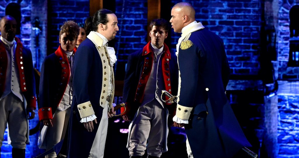 NEW YORK, NY - JUNE 12: Lin-Manuel Miranda and Christopher Jackson of 'Hamilton' perform onstage during the 70th Annual Tony Awards at The Beacon Theatre on June 12, 2016 in New York City. (Photo by Theo Wargo/Getty Images for Tony Awards Productions)