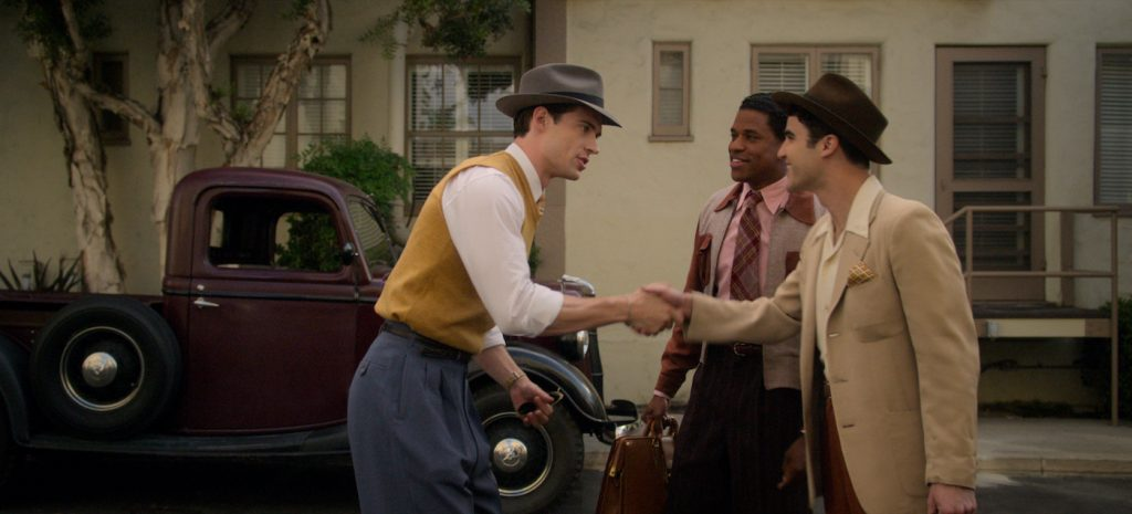 HOLLYWOOD: (L to R) DAVID CORENSWET as JACK CASTELLO, JEREMY POPE as ARCHIE COLEMAN, and DARREN CRISS as RAYMOND AINSLEY in Episode 102 of HOLLYWOOD Cr. COURTESY OF NETFLIX © 2020