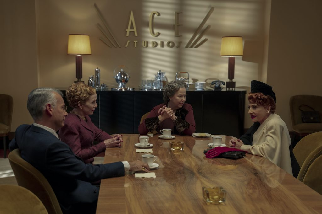 HOLLYWOOD: (L to R) JOE MANTELLO as DICK SAMUELS, HOLLAND TAYLOR as MISS ELLEN KINCAID, HARRIET SANSOM HARRIS as ELEANOR ROOSEVELT, and PATTI LUPONE as AVIS AMBERG in Episode 104 of HOLLYWOOD Cr. SAEED ADYANI/NETFLIX © 2020