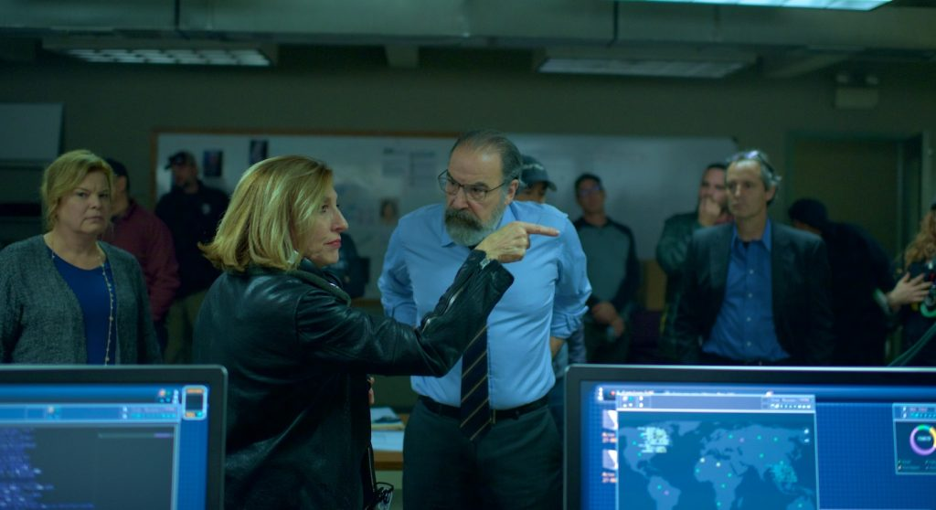 Lesli Linka Glatter on the set of Homeland with Mandy Patinkin. Courtesy Showtime.