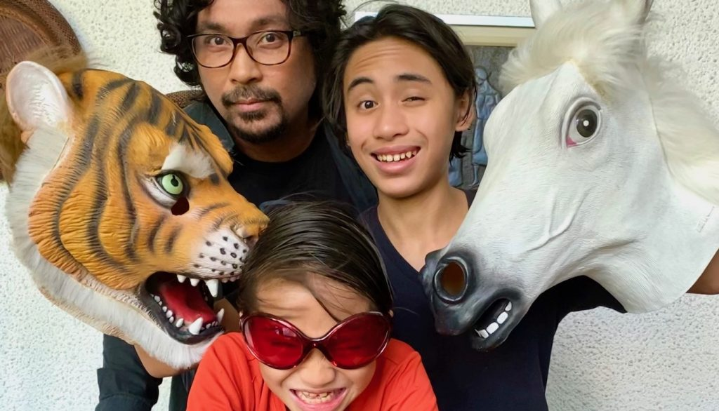 Keith Sicat and his sons making the most of their quarantine in Manila. Courtesy Keith Sicat.