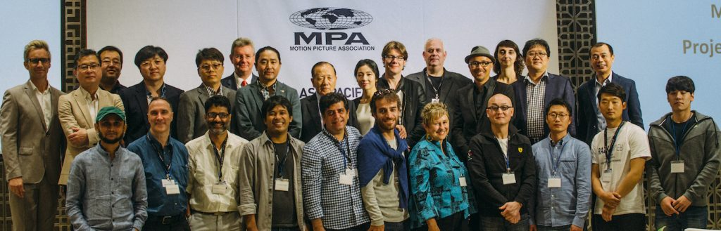 Youn Sung-eun (top middle) moderated the MPA / Asia Pacific Screen Awards / Busan International Film Festival Pitch Competition in Busan in 2015.