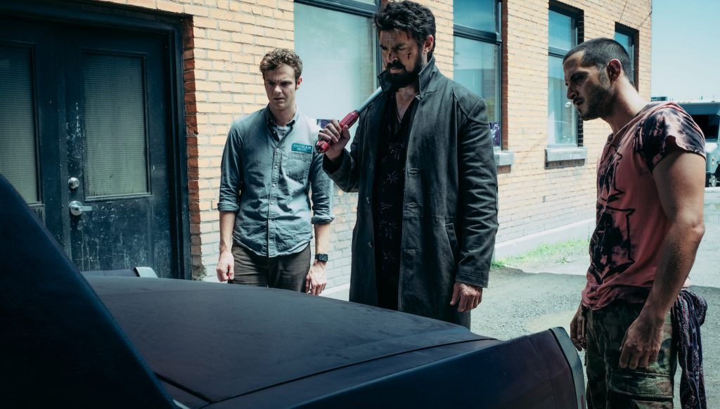 Hughie (Jack Quaid), Butcher (Karl Urban), and Frenchie (Tomer Capon). Photo by Jan Thijs. Courtesy Amazon.