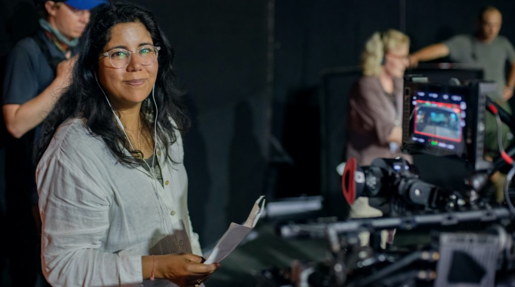 Director Nisha Ganatra on the set of her film THE HIGH NOTE, a Focus Features release. Credit: Glen Wilson / Focus Features