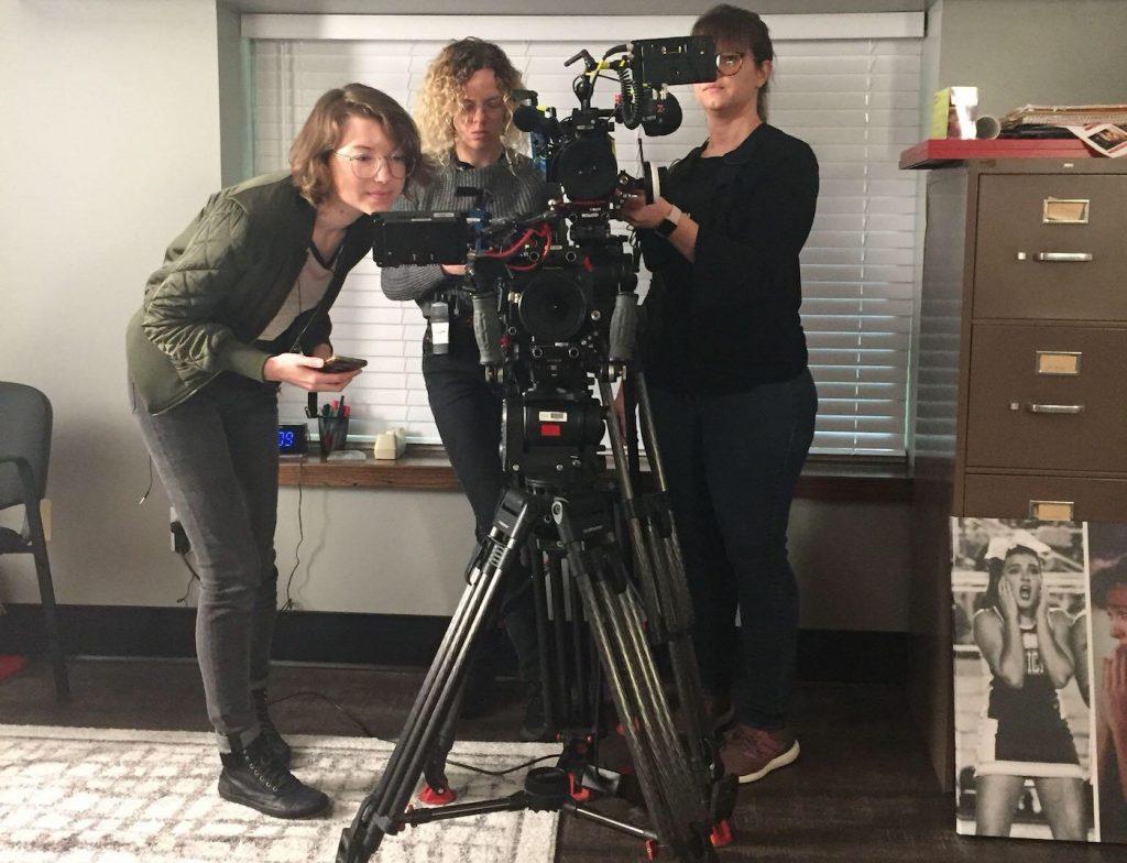 L-r: Arielle Kilker with cinematographers Erynn Patrick & Melissa Langer. Courtesy Netflix.
