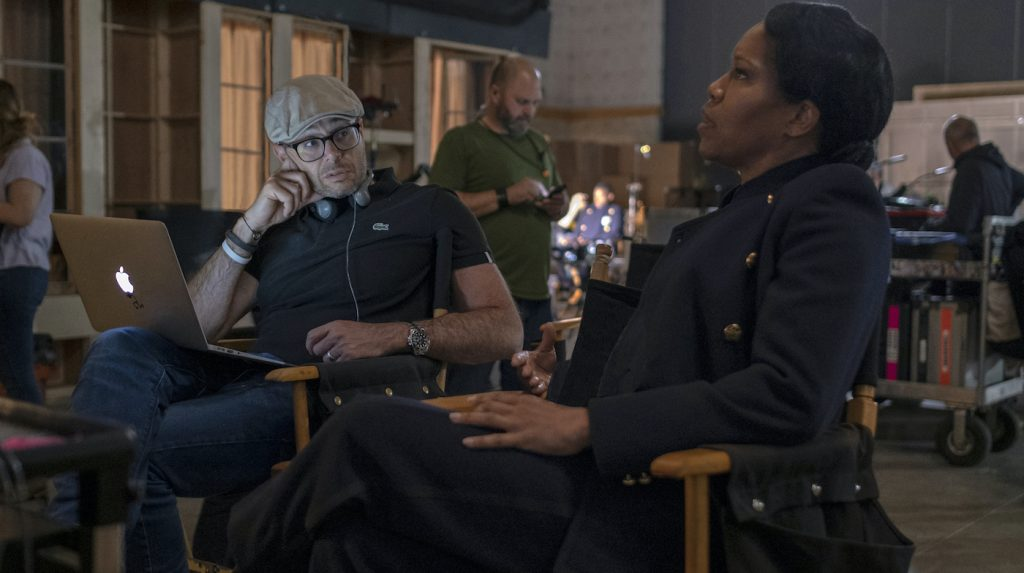 Damon Lindelof and Regina King on the set of 'Watchmen.' Photograph by Mark Hill