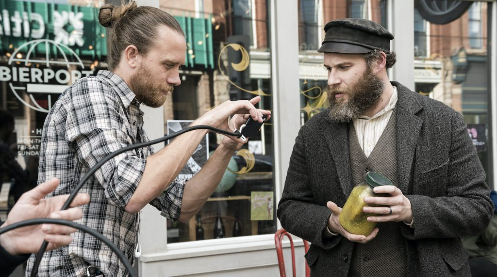 Director Brandon Trost and Seth Rogen on the set of 'An American Pickle.' Courtesy Warner Bros.