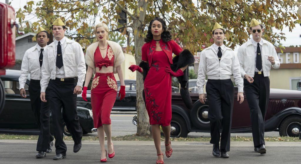 HOLLYWOOD: (L to R) JEREMY POPE as ARCHIE COLEMAN, JAKE PICKING as ROY/ROCK HUDSON, SAMARA WEAVING as CLAIRE WOOD, LAURA HARRIER as CAMILLE WASHINGTON, DARREN CRISS as RAYMOND AINSLEY, and DAVID CORENSWET as JACK CASTELLO in Episode 106 of HOLLYWOOD Cr. SAEED ADYANI/NETFLIX © 2020