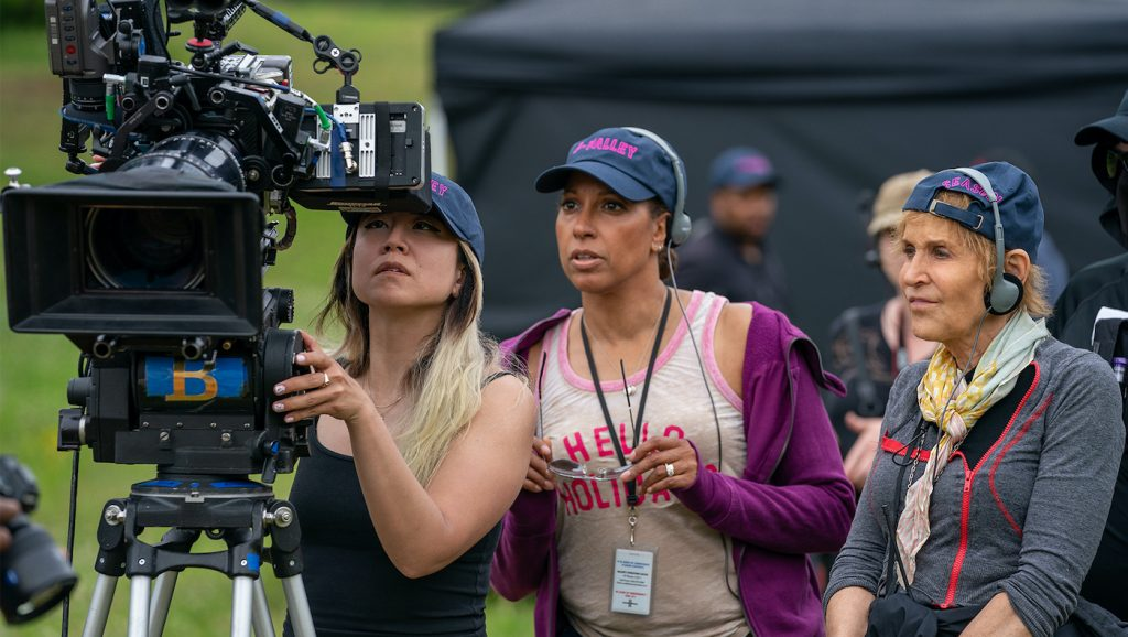 Cinematographer Nancy Schreiber (far right) on the set of P-Valley. Courtesy Starz