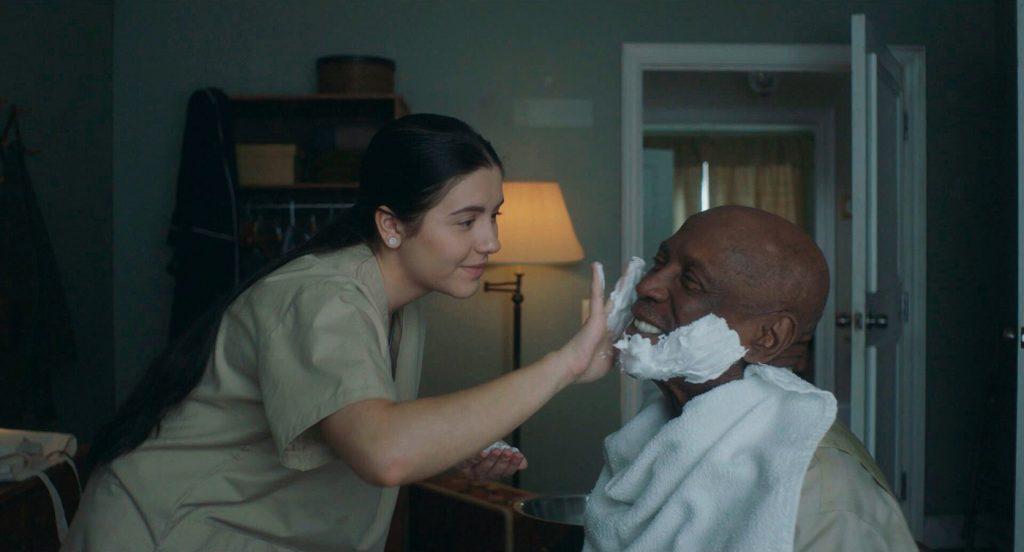 Louis Gossett Jr. as Luis and Ana Golja as Mina in THE CUBAN, Courtesy of Brainstorm Media