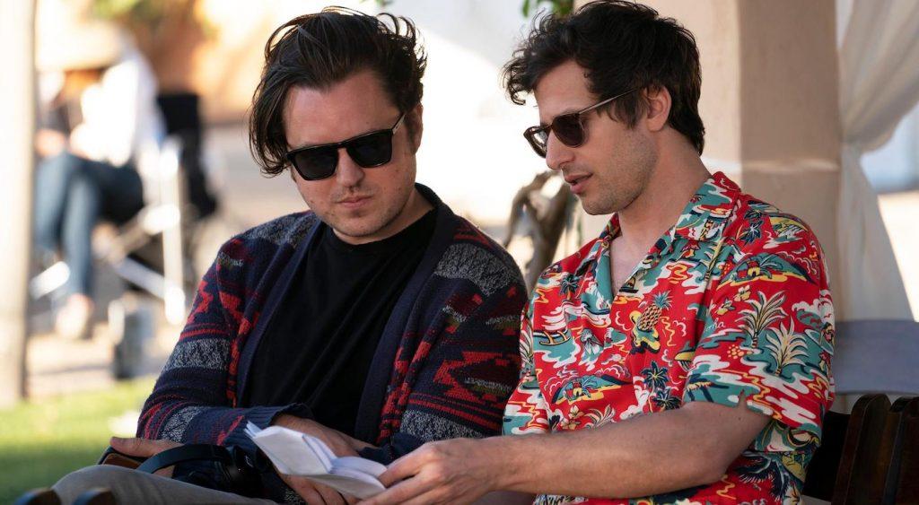 Writer Andy Siara and Nyles (Andy Samberg), shown. (Photo by: Christopher Willard/Hulu)