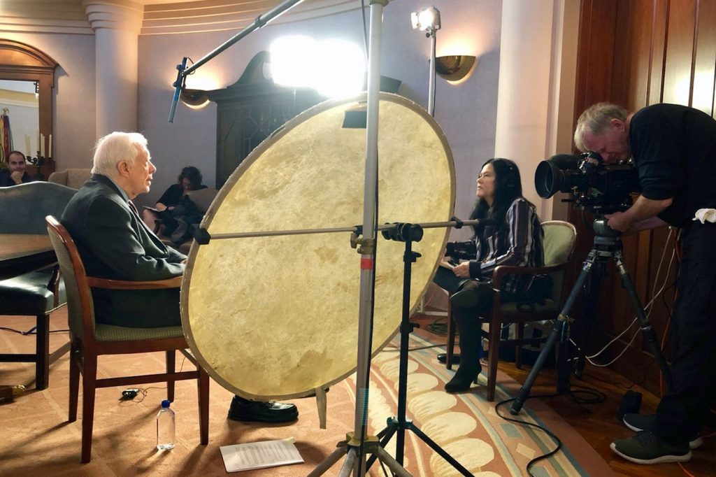President Jimmy Carter sits down to talk with the 'Desert One' team. Courtesy Greenwich Entertainment
