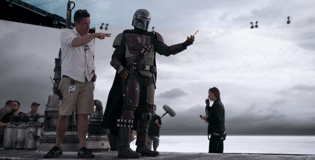 On the set of THE MANDALORIAN, exclusively on Disney+
