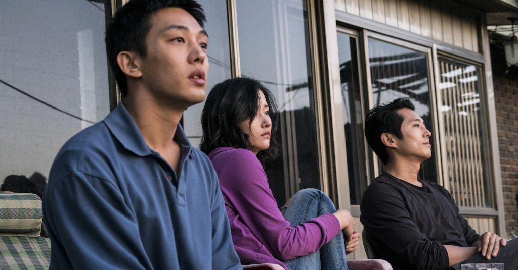 Ah-In Yoo, Jong-seo Jun, and Steven Yeun in 'Burning.'
