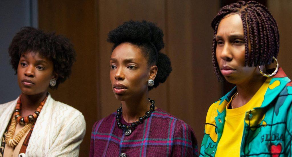 Sistah Soul (Yaani King Mondschein), Annie (Elle Lorraine) and Brook-Lynne (Lena Waithe), shown. (Photo by: Tobin Yellan/Hulu)