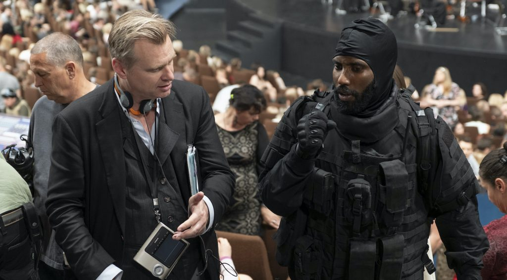 Caption: (L-r) Director/writer/producer CHRISTOPHER NOLAN and JOHN DAVID WASHINGTON on the set of Warner Bros. Pictures' action epic