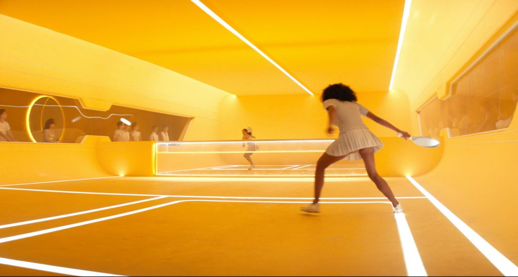 The Yellowball court in 'Brave New World.' Courtesy Peacock