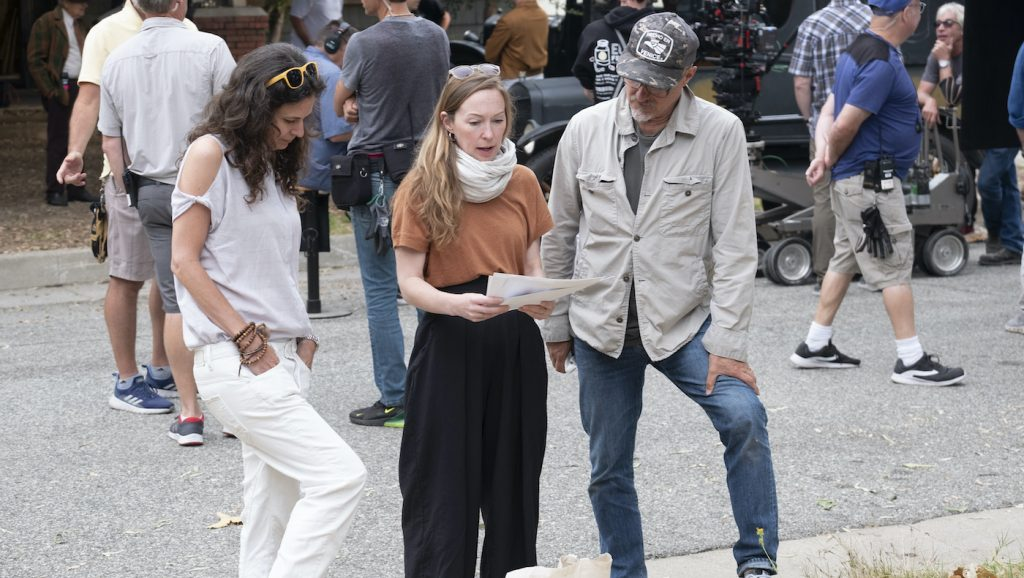 Costume Designer Emma Potter reviews some costume ideas with director Tim Van Patten (R) and co-executive producer/UPM Aida Rodgers. Courtesy HBO