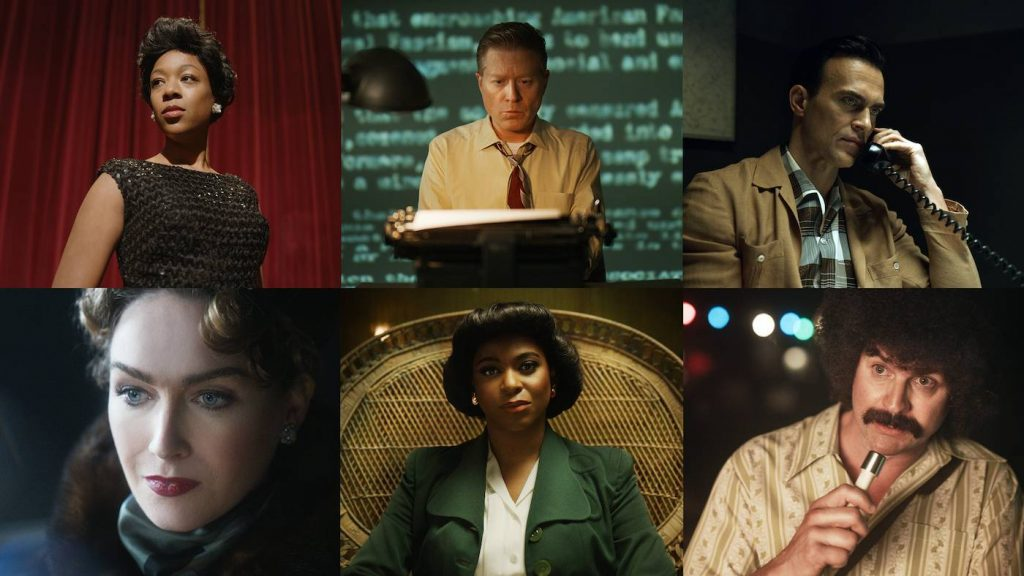 Clockwise, l-r: Samira Wiley as Lorraine Hannsberry, Anthony Rapp as Harry Hay, Cheyenne Jackson as Dale Jennings, Jamie Clayton as Christine Jorgensen, Alexandra Grey as Lucy Hicks Anderson, and Gale Harold as Howard Smith. Courtesy HBO Max.