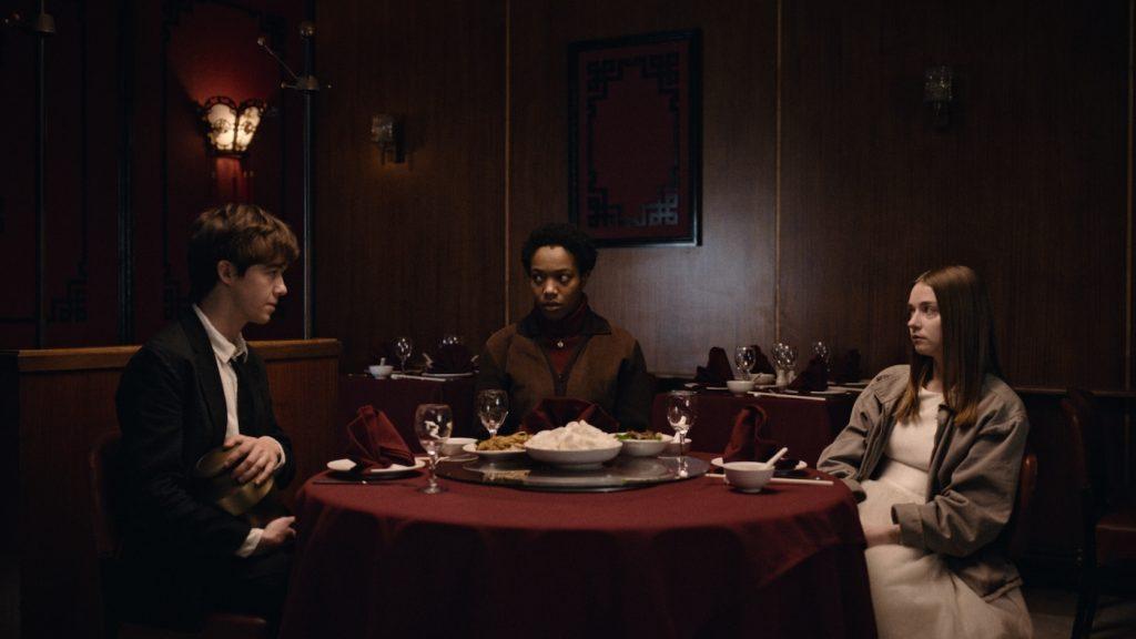 Alex Lawther as James, Naomi Ackie as Bonnie, and Jessica Barden as Alyssa. Courtesy Netflix..
